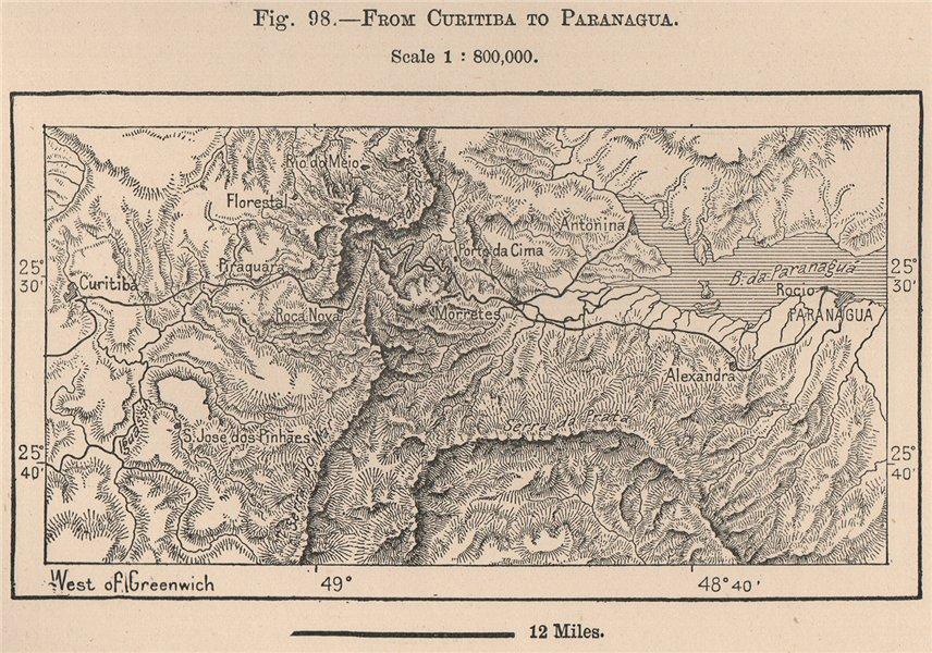 Associate Product From Curitiba to Paranagua. Brazil. Parana 1885 old antique map plan chart