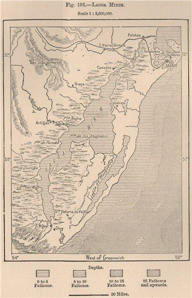 Associate Product Lagoa Mirim. Rio Grande do Sul. Brazil Uruguay 1885 old antique map plan chart