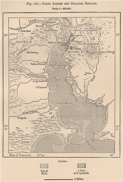 Associate Product Porto Alegre and Guaiba Estuary. Brazil 1885 old antique map plan chart
