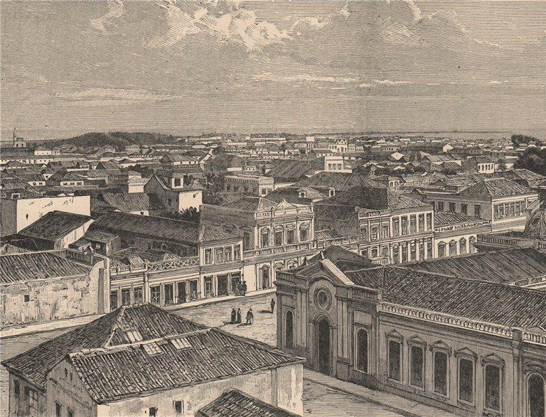 Associate Product Rio Grande, Rio Grande do Sul - General view. Brazil 1885 old antique print