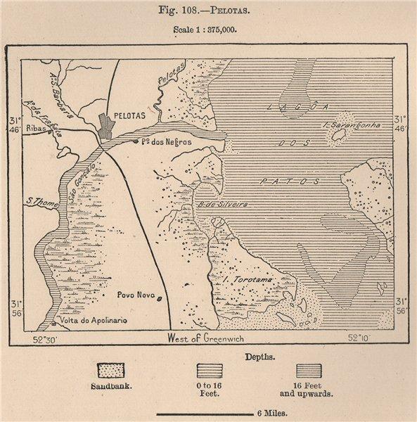 Associate Product Pelotas. Rio Grande do Sul. Brazil 1885 old antique vintage map plan chart