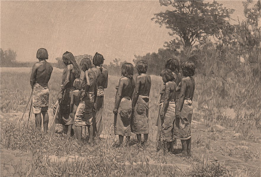 Associate Product Lengoas Indians on the March. Brazil 1885 old antique vintage print picture