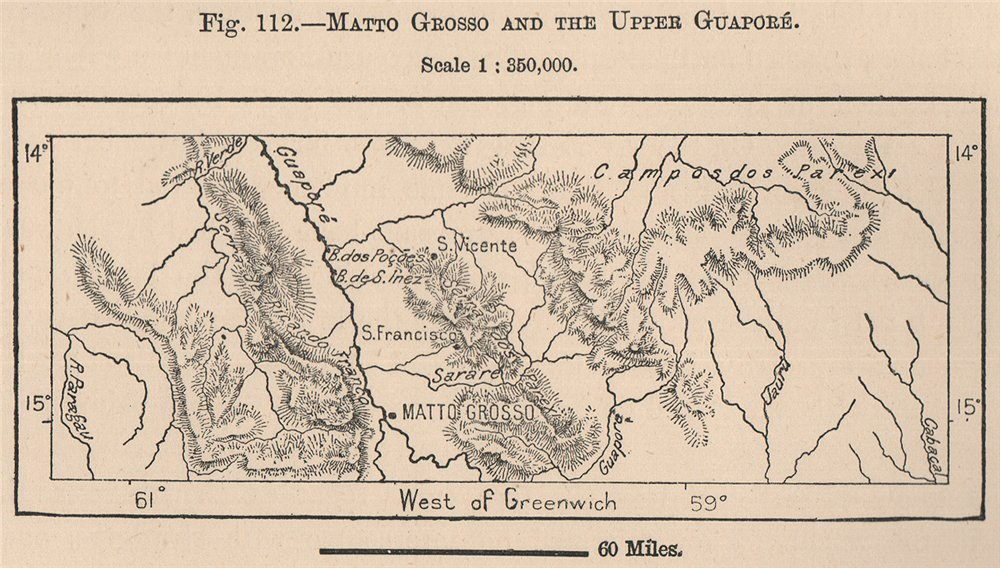 Associate Product Matto Grosso and the Upper Guaporé. Brazil 1885 old antique map plan chart