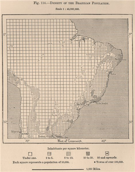 Associate Product Density of the Brazilian population 1885 old antique vintage map plan chart