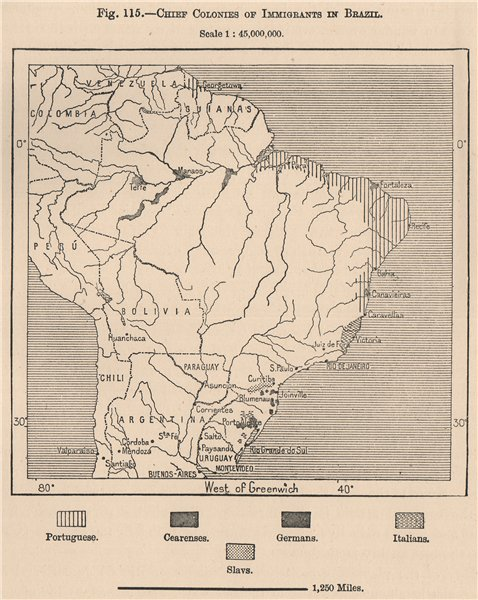 Associate Product Chief colonies of Immigrants in Brazil 1885 old antique vintage map plan chart