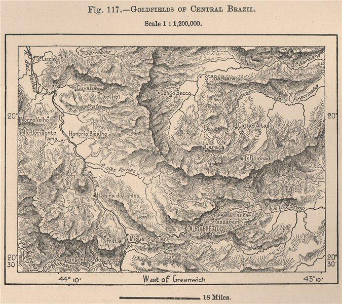 Associate Product Goldfields of Central Brazil 1885 antique vintage map plan chart
