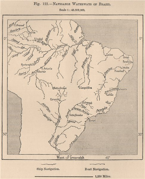 Associate Product Navigable waterways of Brazil 1885 old antique vintage map plan chart