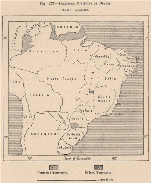 Associate Product Political divisions of Brazil 1885 old antique vintage map plan chart