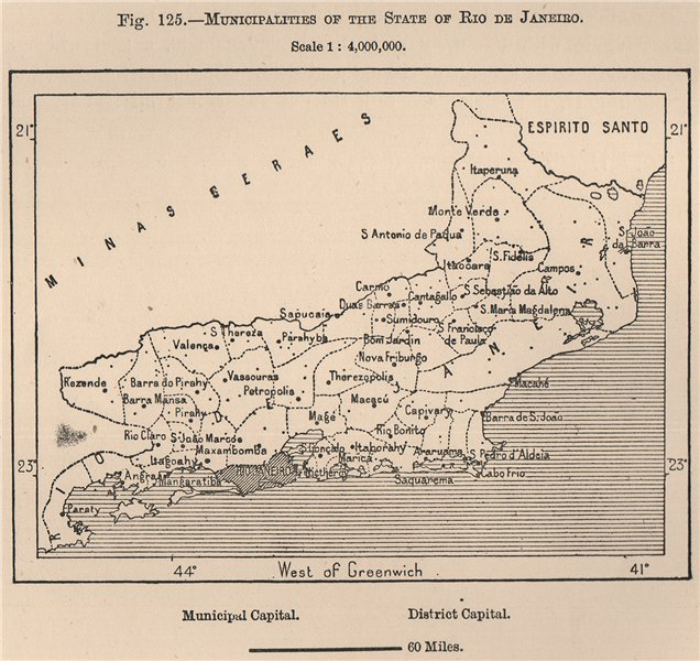 Associate Product Municipalities of the state of Rio de Janeiro. Brazil 1885 old antique map