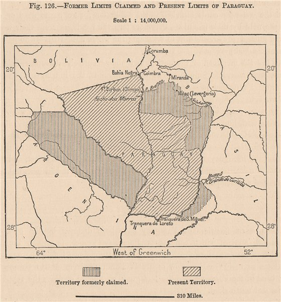 Associate Product Former limits claimed and present limits of Paraguay 1885 old antique map