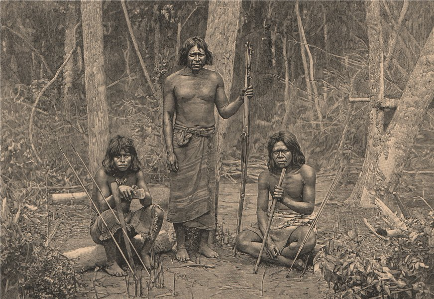 Associate Product Group of Angaїté Indians, North Chaco. Paraguay. Angaite 1885 old print