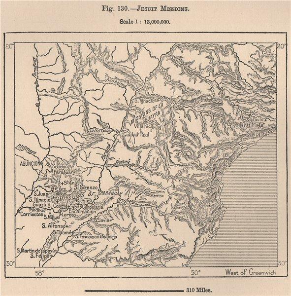 Associate Product Jesuit Missions. Paraguay 1885 old antique vintage map plan chart