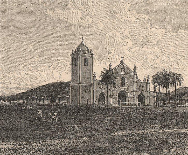 Old Jesuit church at Pirayu. Paraguay 1885 antique vintage print picture