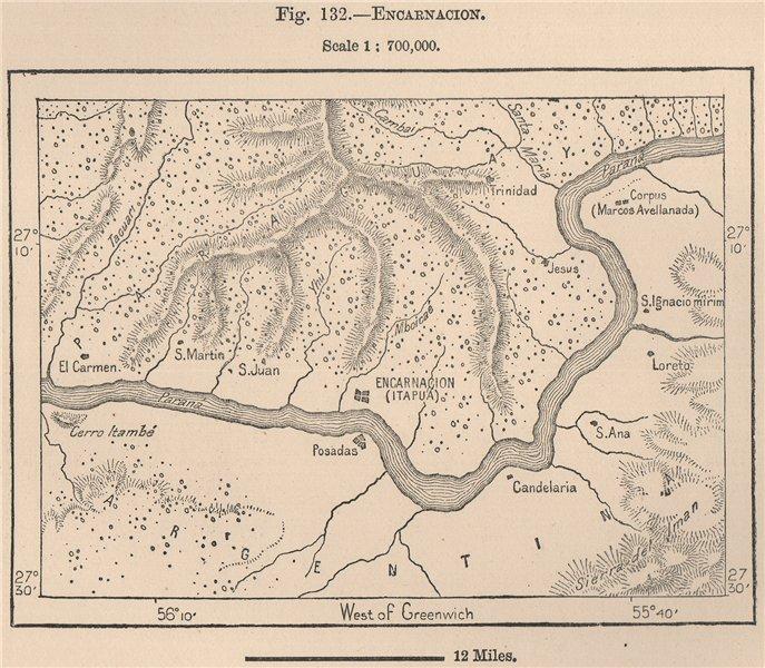 Associate Product Encarnacion. Paraguay 1885 old antique vintage map plan chart