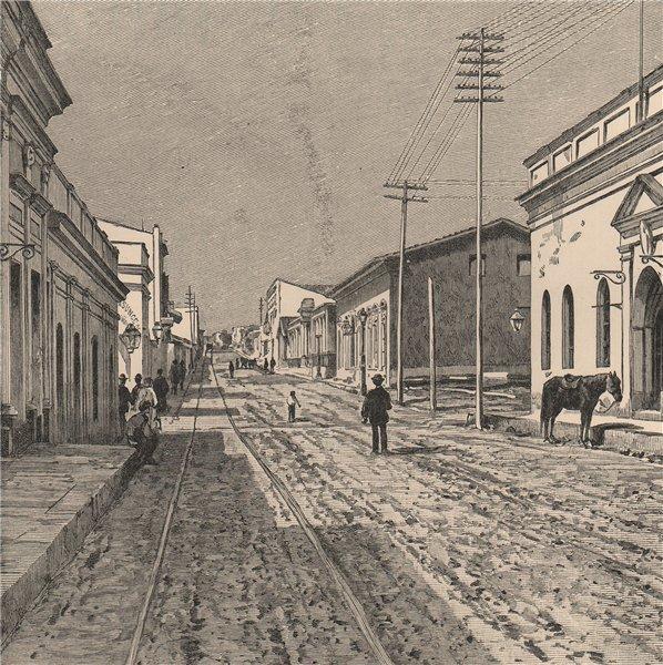 Associate Product Asuncion - Street view. Paraguay 1885 old antique vintage print picture
