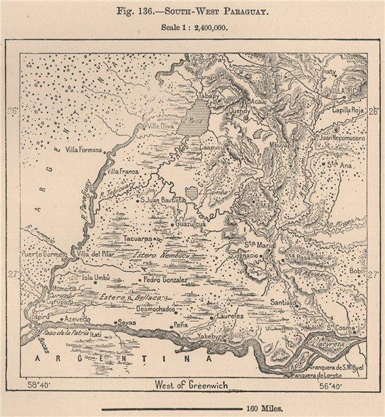 Associate Product South West Paraguay 1885 old antique vintage map plan chart