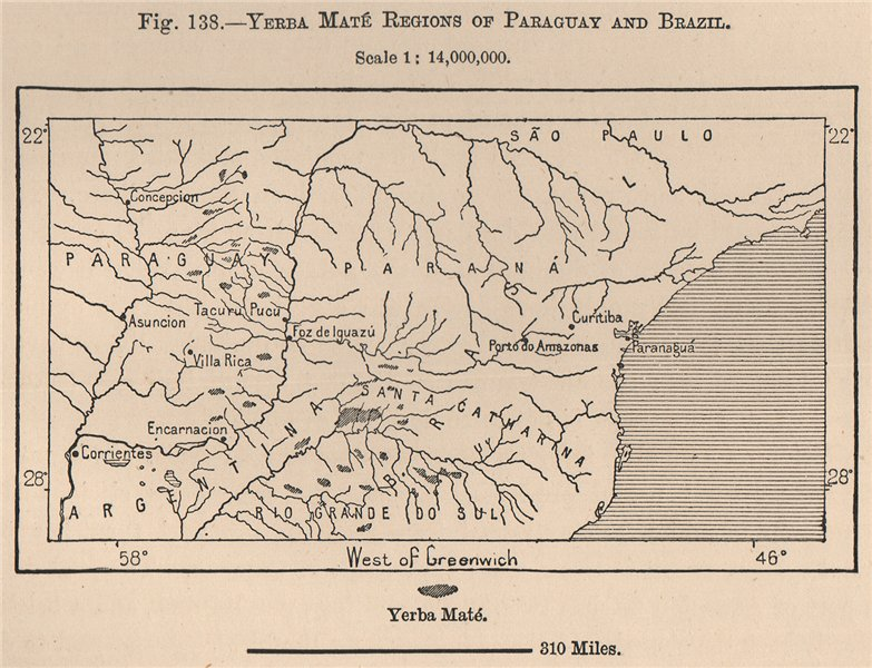 Associate Product Yerba Maté regions of Paraguay and Brazil. South America 1885 old antique map