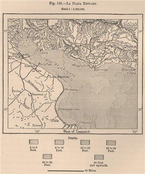 Associate Product La Plata Estuary. South America. Uruguay 1885 old antique map plan chart