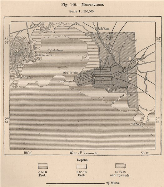 Associate Product Montevideo. Uruguay 1885 old antique vintage map plan chart