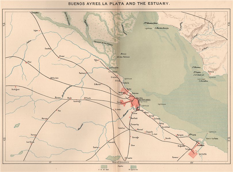Associate Product Buenos Aires La Plata and the estuary. Argentina 1885 old antique map chart