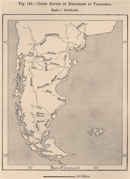 Chief routes of explorers in Patagonia. South America. Argentina 1885 old map