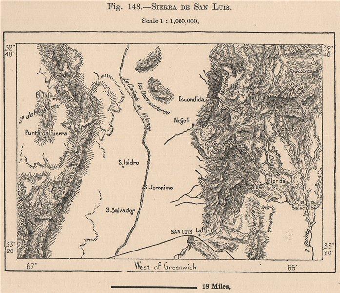 Associate Product Sierra de San Luis. Argentina 1885 old antique vintage map plan chart