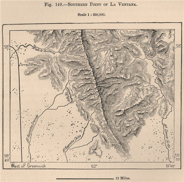 Southern point of La Ventana. Argentina 1885 old antique map plan chart