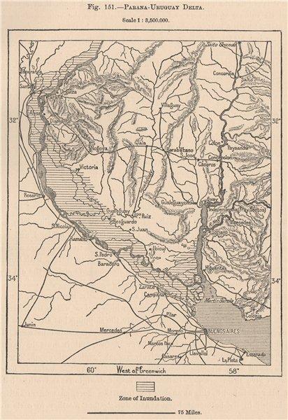 Associate Product Parana-Uruguay Delta. Argentina 1885 old antique vintage map plan chart