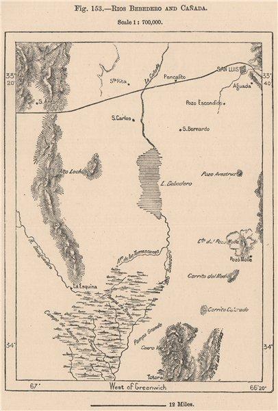 Rios Bebedero and Cañada. Argentina 1885 old antique vintage map plan chart