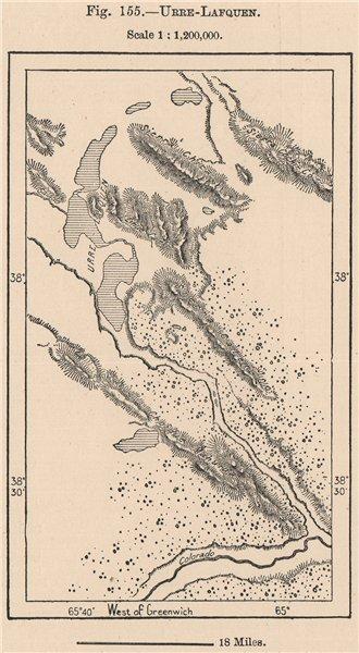 Associate Product Urre Lafquen. Argentina 1885 old antique vintage map plan chart