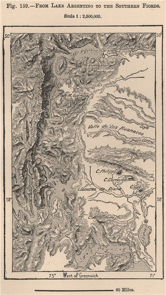 Associate Product From Lake Argentino to the Southern Fjords. Argentina 1885 old antique map