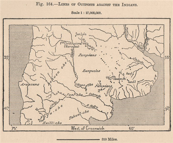 Associate Product Lines of Outposts Against the Indians. Argentina 1885 old antique map chart