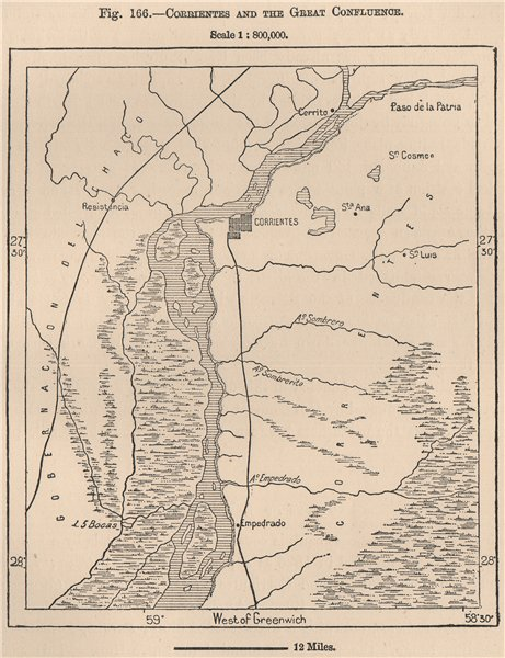 Associate Product Corrientes and the great confluence. Argentina 1885 old antique map plan chart