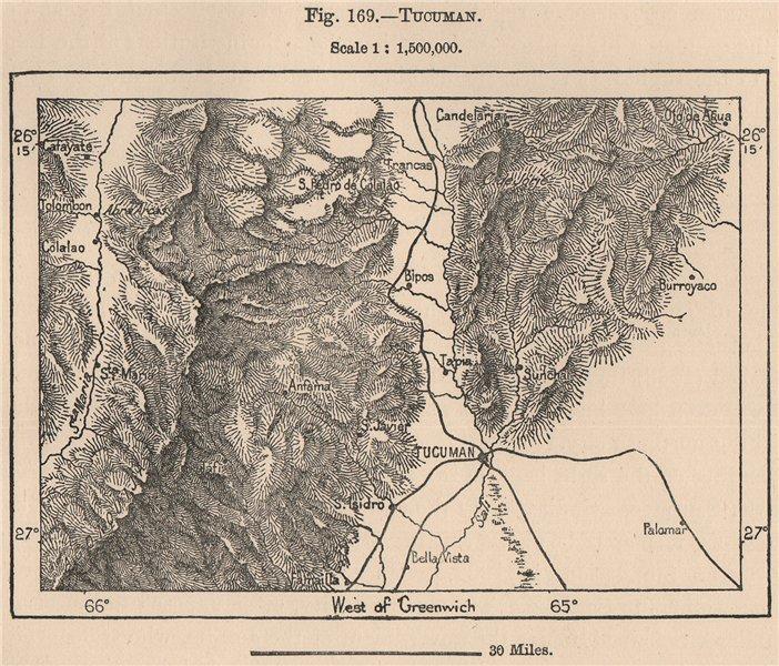 Associate Product Tucuman. Argentina 1885 old antique vintage map plan chart
