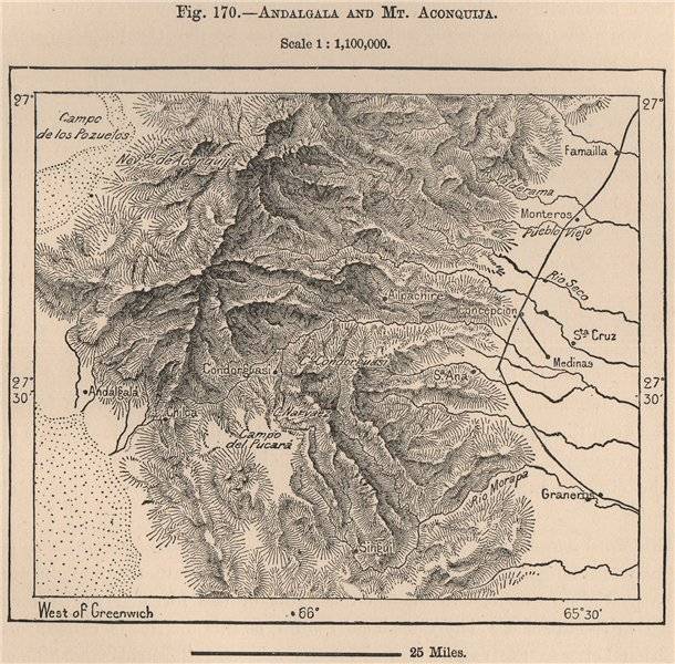 Associate Product Andalgala and Mt. Aconquija. Argentina 1885 old antique vintage map plan chart