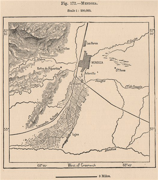 Associate Product Mendoza. Argentina 1885 old antique vintage map plan chart