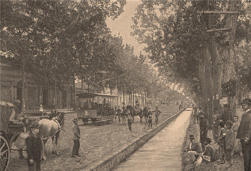 Mendoza. Argentina 1885 old antique vintage print picture