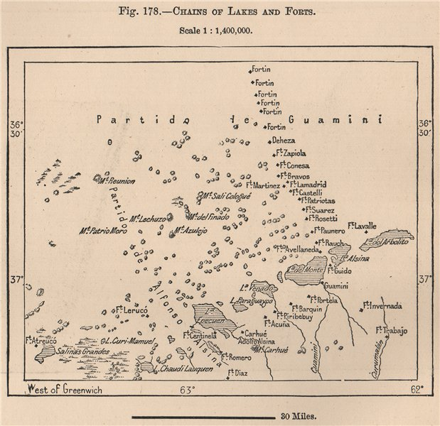 Associate Product Chains of lakes and forts. Argentina 1885 old antique vintage map plan chart
