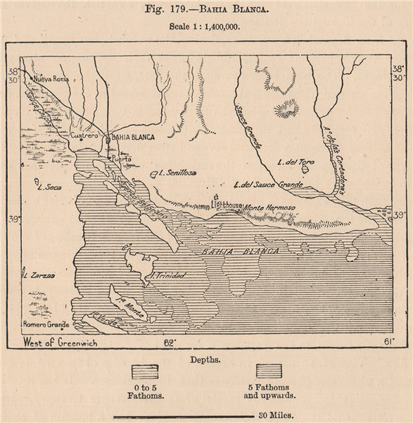 Associate Product Bahia Blanca. Argentina 1885 old antique vintage map plan chart