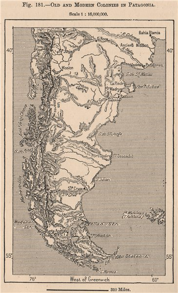 Associate Product Old and modern colonies in Patagonia. Argentina Chile 1885 antique map