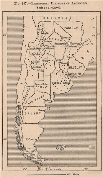 Territorial divisions of Argentina. Provinces 1885 old antique map plan chart