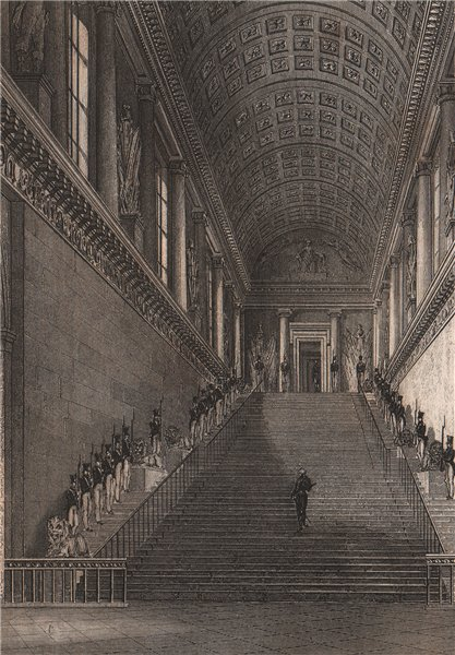 Associate Product PARIS. L'escalier de la Chambre des Pairs. BICKNELL 1845 old antique print