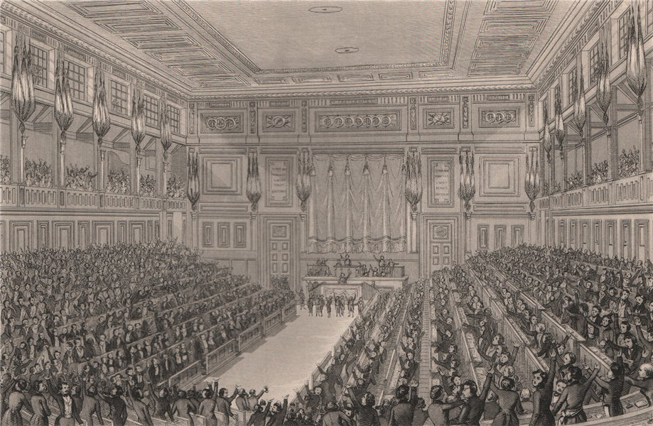 Associate Product PARIS. The National Assembly. BICKNELL 1845 old antique vintage print picture
