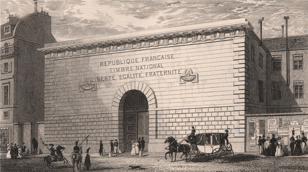Associate Product PARIS. Timbre National. BICKNELL 1845 old antique vintage print picture