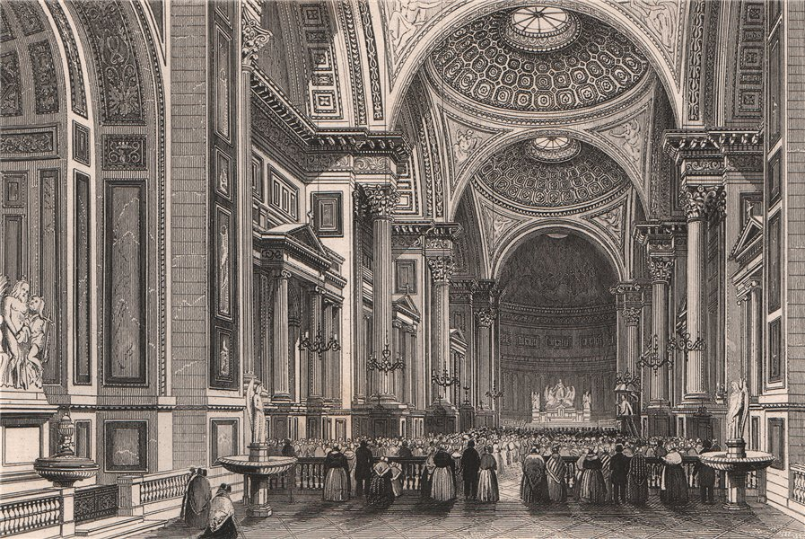 Associate Product PARIS. Interior of the Madeleine. BICKNELL 1845 old antique print picture