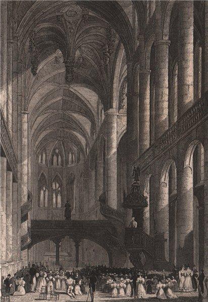 Associate Product PARIS. Eglise de Saint-Etienne du Mont. BICKNELL 1845 old antique print