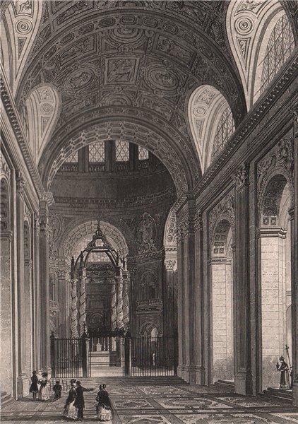 Associate Product PARIS. Interieur de la Chapelle Val de Grace. BICKNELL 1845 old antique print