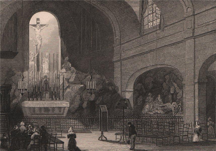 Associate Product PARIS. Chapelle du Calvaire, eglise de Saint-Roche. BICKNELL 1845 old print