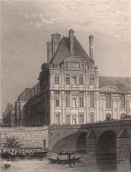 Associate Product PARIS. Pavillon de Flore and Pont Royal. BICKNELL 1845 old antique print