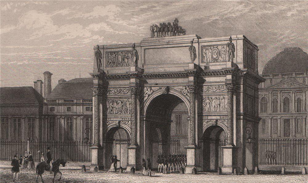 Associate Product PARIS. Arc de Triomphe, Palais des Tuileries. BICKNELL 1845 old antique print